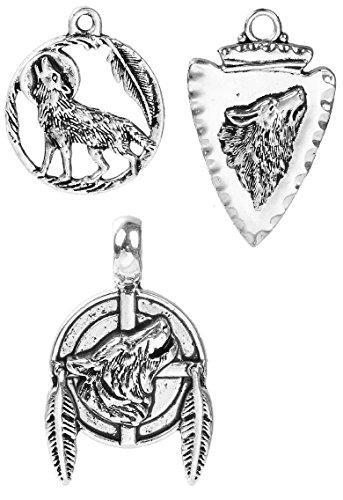 (Wolf Charms 60 Pack, Native American Inspired DIY Jewelry Or Crafts Wholesale Lot)