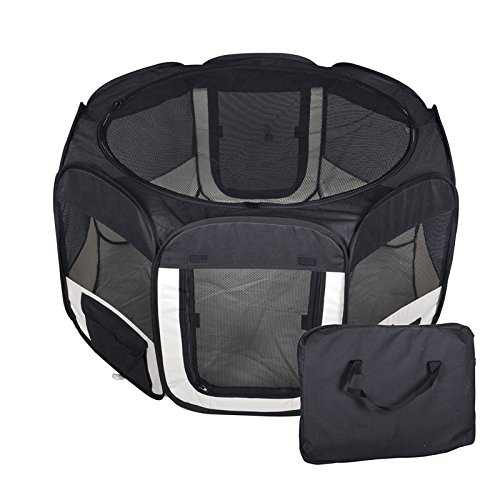New Large Black Pet Dog Cat Tent Playpen Exercise Play Pen Soft Crate T08