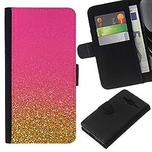EJOY---La carpeta del tirón la caja de cuero de alta calidad de la PU Caso protector / Samsung Galaxy Core Prime / --Bling del oro de la chispa de Granos