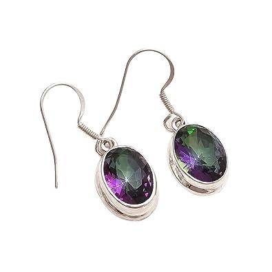 d9776e3c1 Emprell Women 925 Sterling Silver Oval Mystic Topaz Fishhook Earrings in  Faceted Collet Setting: Amazon.co.uk: Jewellery