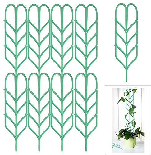 Jashem Garden Trellis 9 PCS Plastic Indoor Trellis for Potted Plants Green Stackable Leaf Shape Mini Climbing Plant Stakes DIY Flower Pot Support for Pea Vegetable Clematis