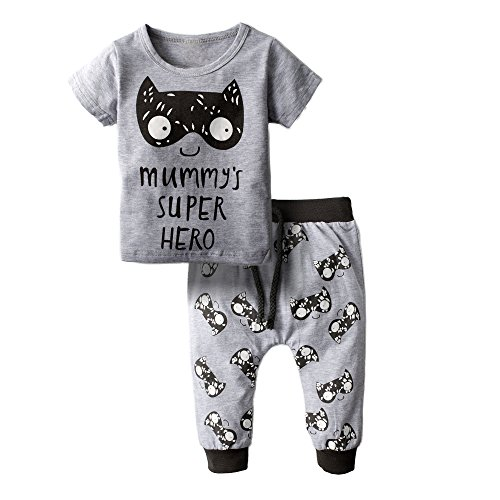 BIG ELEPHANT Baby Boys' 2 Piece Cute Graphic Short Sleeve Pants Clothing Set Grey H80-60(0-3 Months)