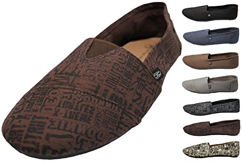 MEN'S LETTER PRINT CANVAS FLAT SHOES SLIP-ON SNEAKERS (7, Brown)
