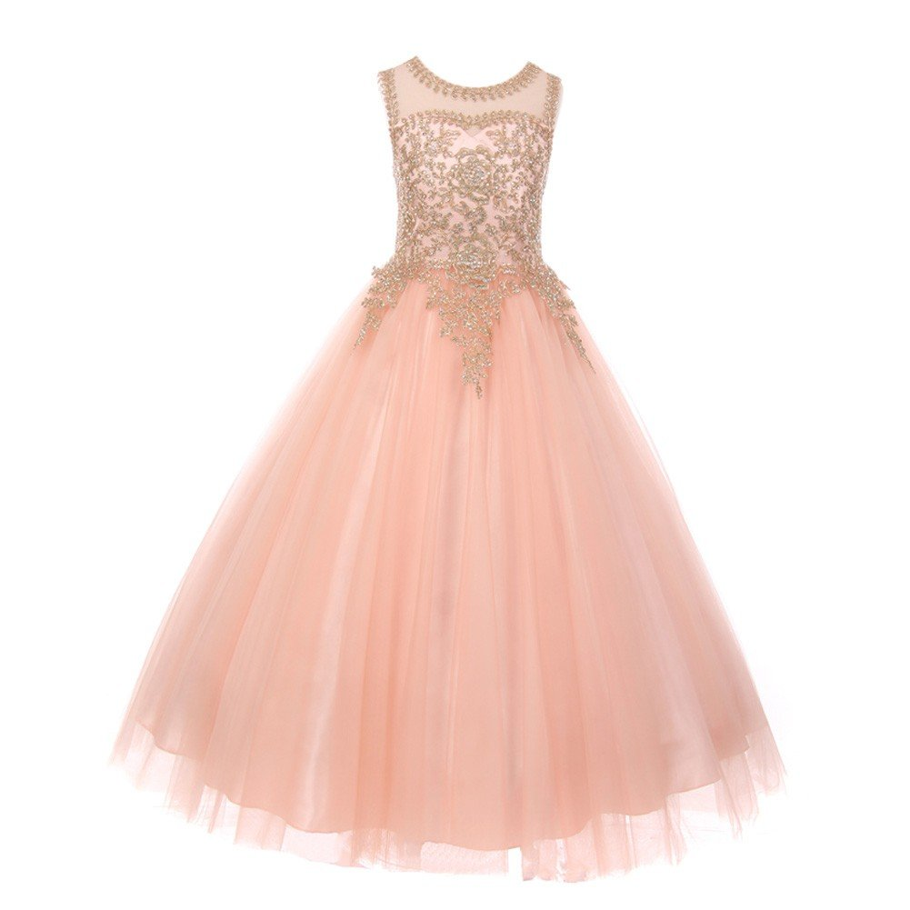 Cinderella Couture Big Girls Blush Gold Rhinestone Cording Illusion Junior Bridesmaid Dress 14
