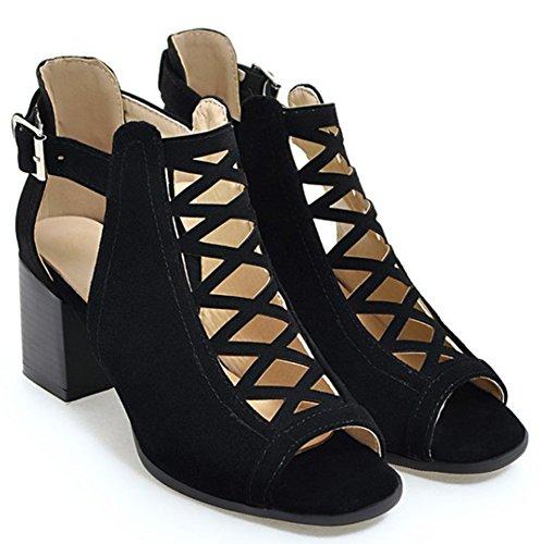 Heels Sandals Black Shoes IDIFU Gladiator Block Women q07xqBZ8
