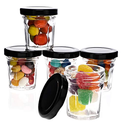 Juvale 48-Pack 1 Ounce Mini Glass Jars with Black Lids for Party Favors, Spices, Crafts