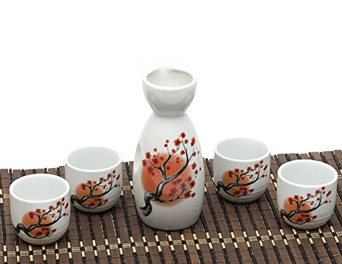 Japanese Sake Set, 5 Pieces Sake Set Hand Painted Design Porcelain Pottery Traditional Ceramic Cups Crafts Wine Glasses (Red)