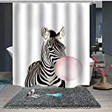 Pink Zebra Print Shower Curtain Shower Curtain Set with Hooks Soap Mildew Resistant Waterproof Vivid Zebra Blows Pink Bubble Black Stripes Bathroom Decor Machine Washable Antibacterial Polyester Fabric Bath Curtain 71 x 71 inches