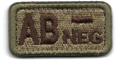 Tactical Blood Type AB- Negative NEG Hook and Loop Patch Embroidered Morale Military Badge for Outdoors (Coyote Brown AB-)