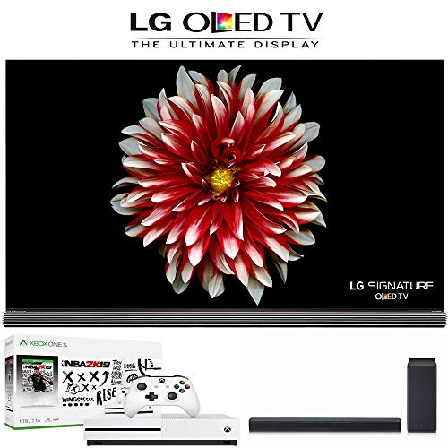 LG Electronics LG Signature OLED65G7P 65-Inch 4K Ultra HD Smart OLED TV, Xbox One S NBA 2K19 Bundle, LG SK8Y 2.1 ch High Res Audio Sound Bar. LG Authorized Dealer