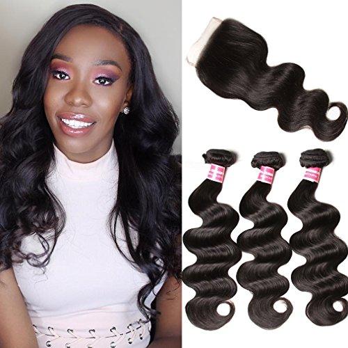 Donmily 7A Grade Brazilian Body Wave Unprocessed Brazilian Virgin Hair 4×4 Free Part Lace Closure With Cheap Human Hair Bundles 3pcs Brazilian Wavy Hair (10 12 14+10 Closure) Review
