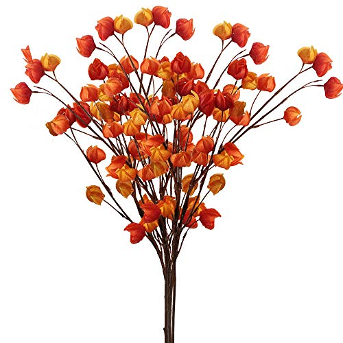 Furnily Artificial Flowers Chinese Lanterns Flowers for Home Decoration (5, Orange)
