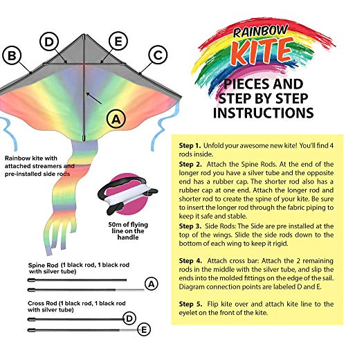 77423a7ff627 Amazon.com  aGreatLife Huge Rainbow Kite for Kids - One of The Toys for  Outdoor Games and Activities - Good Plan for Memorable Summer Fun  Toys    Games