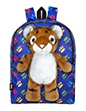 Plush Stuffed Tiger Toy Doll with Pull Out Backpack, Blue, One Size