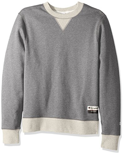 Cotton Fleece Oxfords - Champion Men's Authentic Originals Sueded Fleece Sweatshirt, Oxford Gray/Oatmeal Heather, Medium