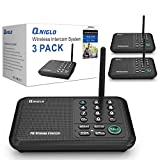 Qniglo Wireless Intercom System 10 Channel 1/2 Mile Long Range FM Wireless Intercoms for Home, Office, Business (3 Stations, Black)
