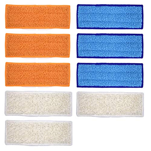 Neutop 9 pcs Washable Mopping Pads Replacement for iRobot Braava Jet 240 241, with 3pcs Wet Mopping Pads, 3pcs Damp Sweeping Pads, 3pcs Dry Sweeping Pads.