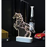Large Modern Horse lamp, concrete equestrian table lamp,Geometric LED decorative lamp, horse night light, father's day gift