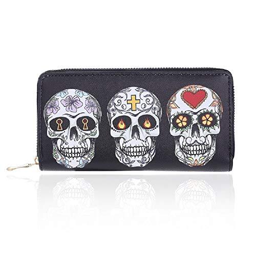 Badiya 3 Pretty Sugar Skull Wallet for Women Vintage Clutch Bag -