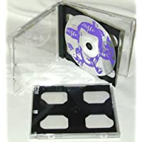 100 x Double Slimline CD Jewel Boxes with Dark Grey / Black Pivot Tray #CD2R10DG (HOLDS 2 CDS IN THE SPACE OF ONE STANDARD SIZED JEWEL BOX!)
