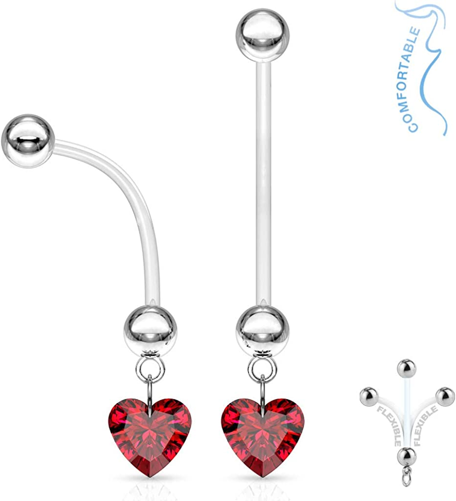 """The Jewelry Archivist RED Ruby Heart Dangle Pregnancy Maternity Flexible Belly Button Naval Retainer Ring. UV, Nickel and Allergy Free - 14G - 1"""" Long - 5mm Ball"""