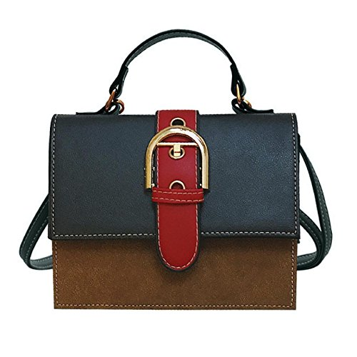 Owill Women Ladies Fashion Patchwork Flap Bag Pretty Crossbody Knitted Edge Mini Shoulder Bag (Black) - Edge Leather Shoulder Bag