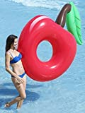 BEST CHERRY INFLATABLE POOL FLOATS, Perfect Floaties for Kids & Adults, Huge Blow Up Party Tubes for River Rafting Summer Fun, Ultimate Floating Lounger, Birthday Water Raft Toy to Ride On, Red 68in
