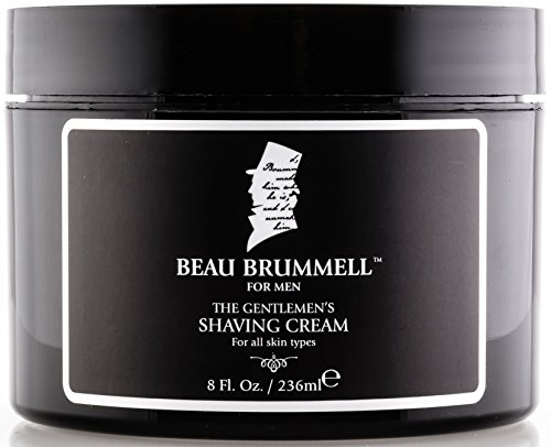 Sandalwood Shaving Cream for Men by Beau Brummell | Large, Long Lasting 8 oz Jar | Produces Rich Shaving Lather With or Without a Shaving Brush | Classic Moisturizing Shave Cream Made in USA