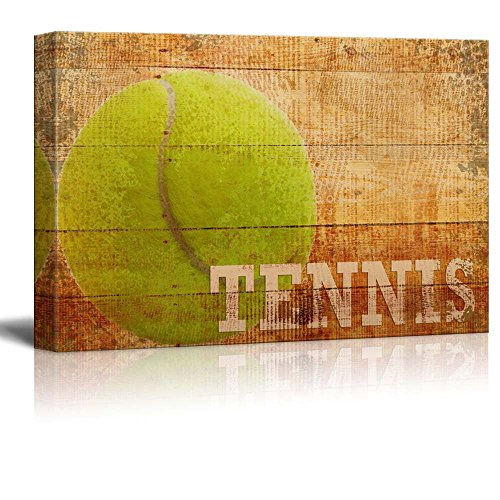 Rustic Tennis Tennis Ball Vintage Wood Grain