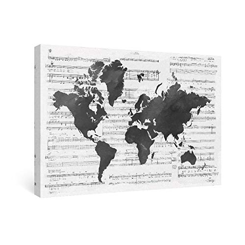SUMGAR Black and White Wall Art Sheet Music Canvas Prints Modern World Map Silhouette Wall Decorations for Office, -