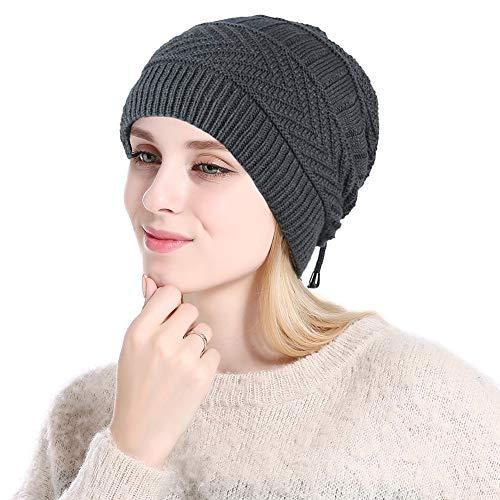 ANUIMOAR 柔软马尾辫混乱无檐小便帽弹力冬季随性无檐小便帽针织帽颈巾,适合女士和女孩