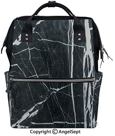 Fashion Backpack Multi-Function Nappy Bags,Grunge Natural Gemstone Nostalgic Marbling Architecture Culture Design Decorative Charcoal Grey White,15.7 inches,for Mom & Dad, Travel Back Pack