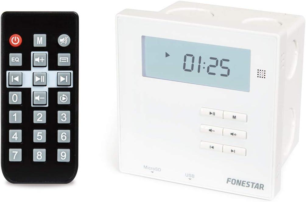 FONESTAR Amplificador DE Pared WA-66R Blanco Receptor BT 2.1 2 * 10W FM USB MICROSD Pantalla Caja DE EMPOTRAR Mando A Distancia
