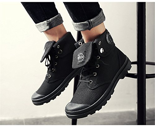 RAINSTAR Mens High Top Sneakers Canvas Working Shoe Lace Up Martin Boots Black 9wNVaIXQs