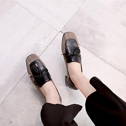 Hoxekle Femmes Rétro Talons Bruts Bas Haut Mi-talons Bout Carré Respirant Slip Sur Chaussures Mocassins Noir