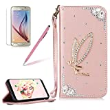 Girlyard For Samsung Galaxy J7 2016 / Galaxy SM-J710F Wallet Stand Leather Case Cover Shiny Glitter Diamond Rhinestone Magnetic Closure Flip Case Cover with Wrist Strap and Card Holder Black Rose Gold Angel Girl