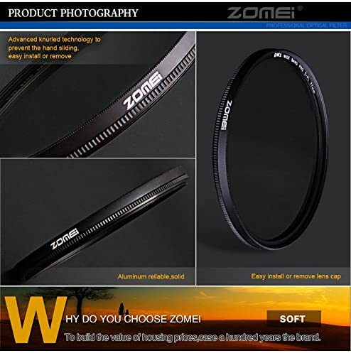 ZOMEI 82mm Ultra Slim CIR-PL CPL Optical Glass Pro Circular Polarizing Polarizer Camera Lens Filter with Cleaning Cloth