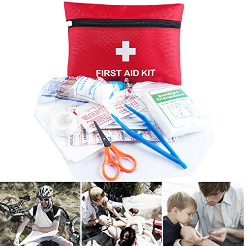 33PCS Mini First Aid Emergency Kit,Firwood Waterproof Pouch with Zipper,Medcial Survival Pack For Bite Knife Cut Fracture Wound