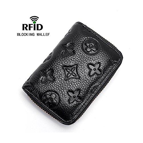 Women RFID Blocking Credit Card Holder Wallet Leather Slim Zipper Purse - Black - Bag Credit Card Wallet Holder