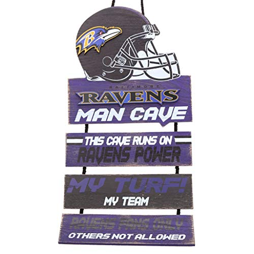 FOCO NFL Baltimore Ravens Team Logo Mancave Man Cave Hanging Wall Sign, Team Color, One ()