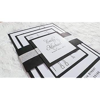 Amazon Com 100 Wedding Invitations Black White Gothic Style Elegant