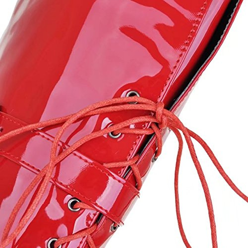 Red Womens Long Platform Lace Patent Leather Boots Heel Winter Thick The Knee AIYOUMEI Up Boots Over T4x8Z4