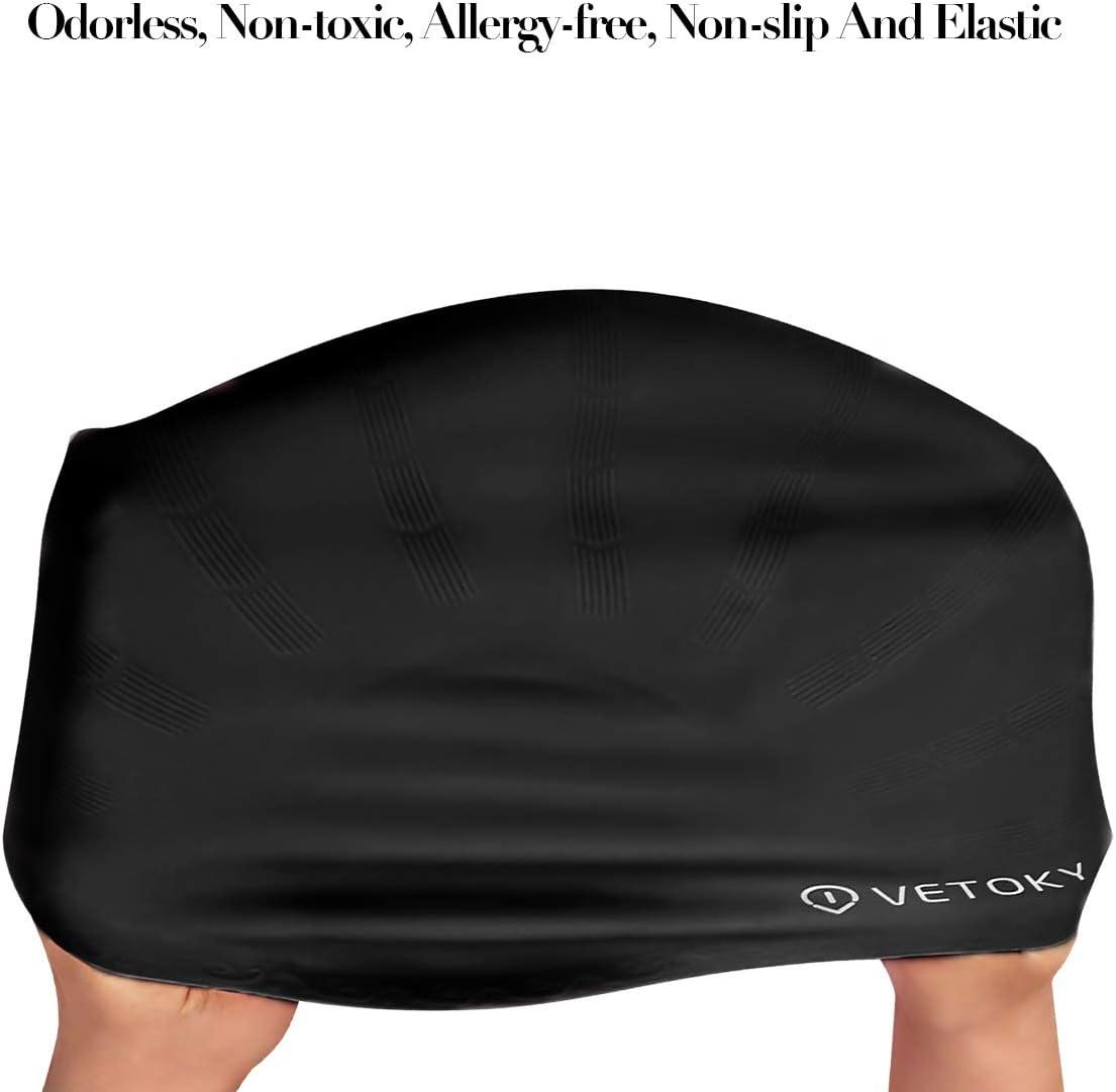 Unisex Cuffia Piscina in Elastico Silicone Adatto Impermeabile Ergonomico per Adulto e Bambino 8+ VETOKY Cuffia Nuoto