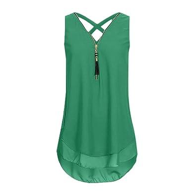 bf2ec125daabae ZIYOU Damen Ärmellose Chiffon Bluse, Frauen Sommer Elegant Weste Top  Hemdbluse Unregelmäßigkeit Casual Unterhemd Shirts