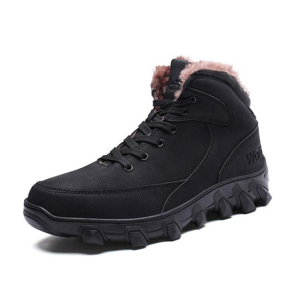 Hy Herrenschuhe, Winter warme Winddichte Schnee Stiefel Stiefel, Outdoor Wanderschuhe, Skischuhe (Farbe : Schwarz, Größe : 44)
