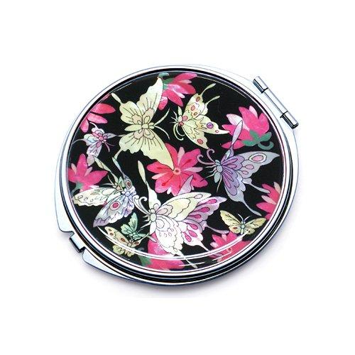 incrustation en nacre Noir Motif Papillon Comestic Unique Poche Maquillage Compact double miroir (L) Fun-Store