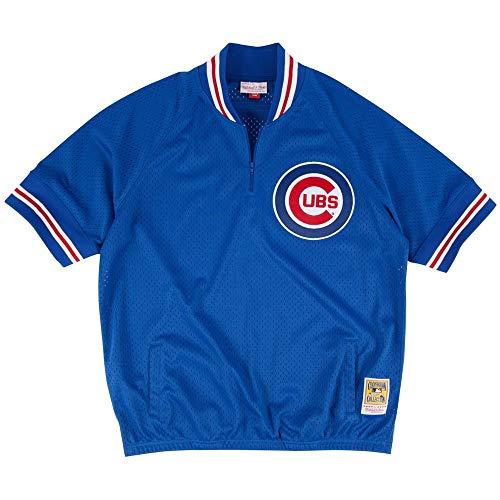 Chicago Cubs Men's Mitchell & Ness 1/4 Zip Mesh Batting Practice Jersey (5X-Large) Chicago Cubs Batting Practice Jersey