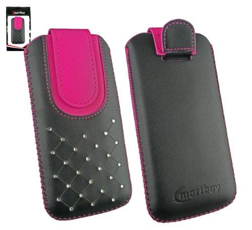 Emartbuy® Apple iPhone 5c Schwarz / Rosa EdelsteinbesetZTEs Premium PU Leder Slide In Pouch Case Tasche Hülle Sleeve (Größe X-Large) Mit Pull Tab Mechanismus Und Displayschutz