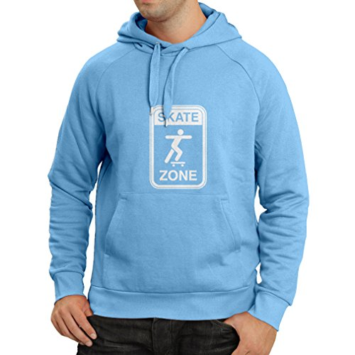 Hoodie Skate Zone - for Skaters, Skate Longboard, Skateboard Gifts, Skating Gear (Small Blue White) (Witze Lager)