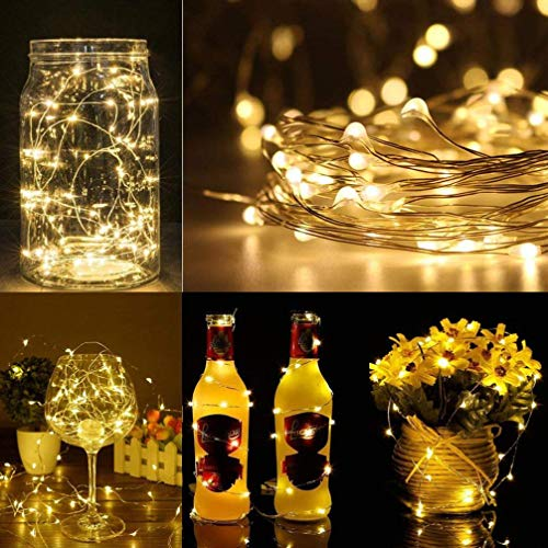H+K+L 16Pcs 20LED Fairy Light Battery Operated Starry String Copper Wire Decor Christmas (Yellow) by H+K+L